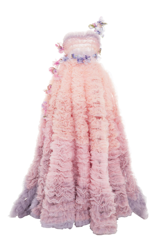 Medium luisa beccaria pink ruffled tulle gown