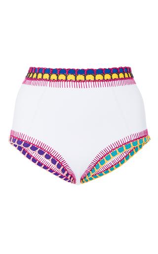 Medium kiini white flor high waisted bikini bottom