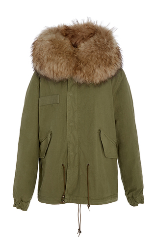 Medium mr mrs italy green slim fit army green mini parka with natural grey lapin lining and a murmasky hood