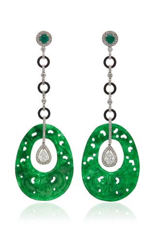Medium nina runsdorf green jade and diamond earrings