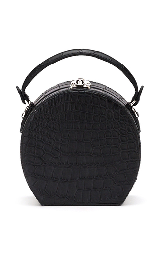 Medium bertoni black alligator mini bertoncina hand bag