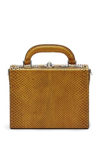 Medium bertoni yellow solid python mini squared bertoncina hand bag