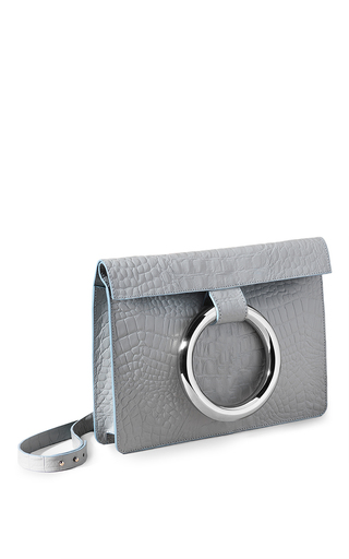 Medium persephoni light blue round handle shoulder bag