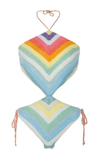 Medium mara hoffman multi crochet rainbow one piece swimsuit