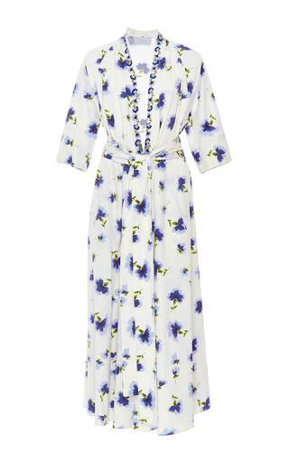 Medium luisa beccaria floral long sleeve wrap dress