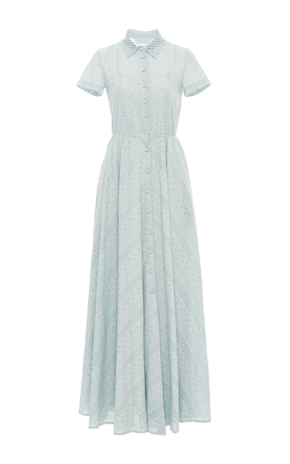 Medium luisa beccaria light blue short sleeve maxi dress