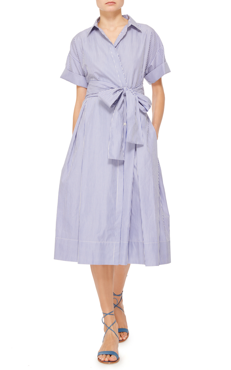 Cotton Striped Wrap Shirt Dress By Mds Stripes Moda Operandi