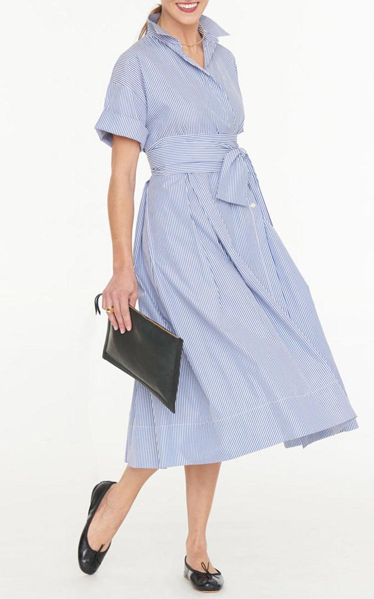 Cotton Striped Wrap Shirt Dress By Mds Stripes Moda Operandi