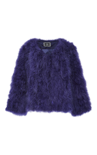 Medium helen yarmak purple purple marabou feather jacket