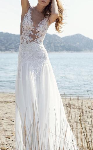 Medium costarellos white beaded lace illusion gown