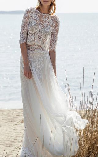 Medium costarellos ivory scalloped beaded lace blouse