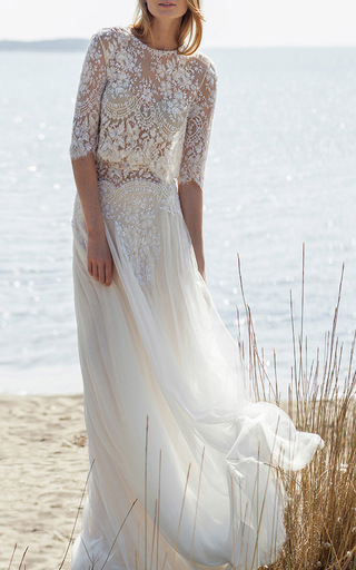 Medium costarellos ivory illusion beaded lace waist tulle skirt