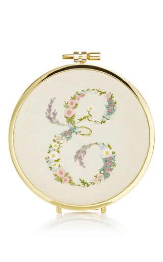 Medium erin fetherston ivory monogram embroidery hoop clutch