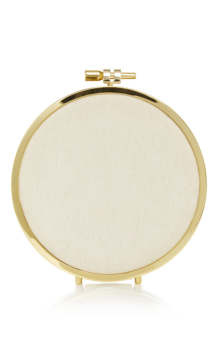 Forget me not embroidery hoop clutch by erin moda operandi