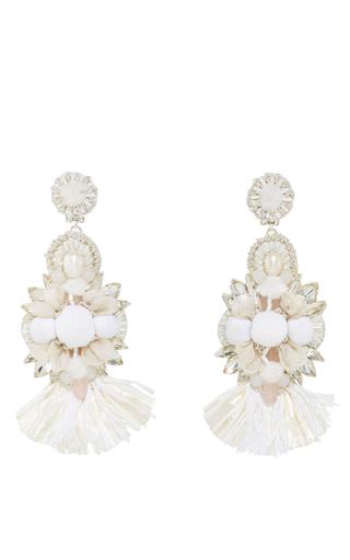 Medium ranjana khan ivory raffia fan flower earrings