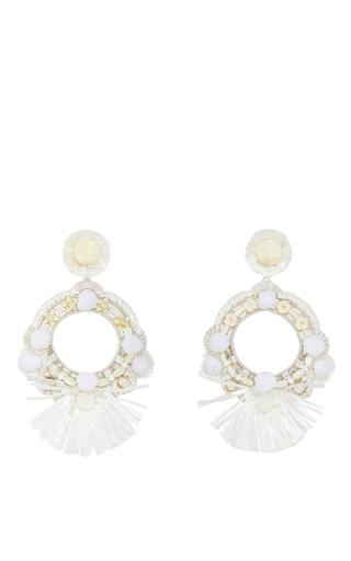 Medium ranjana khan ivory raffia fan hoop earrings