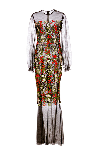 Medium sandra mansour black lace and hand embroidered tulle long dress