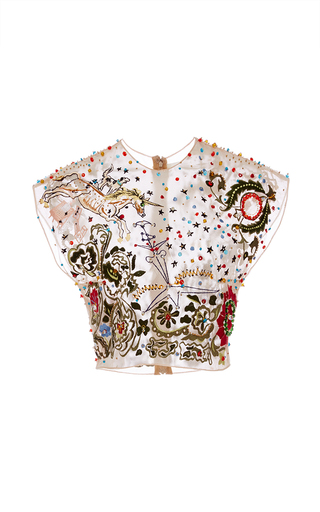 Medium sandra mansour multi thread and pearl embroidered top