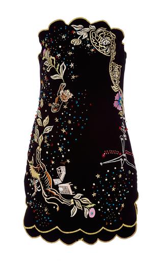 Medium sandra mansour black thread embroidered crepe mini dress
