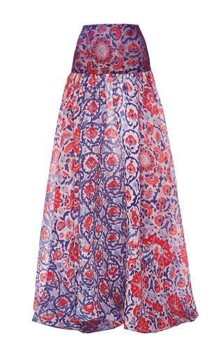 Medium sandra mansour pink lace and printed ottoman gazar skirt