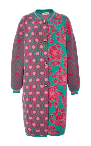 Medium tak ori fuchsia fuchsia printed bomber coat