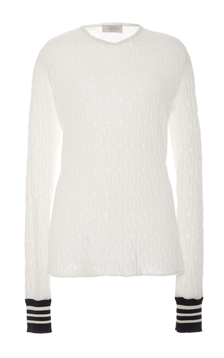 Medium tak ori white striped cuff sweater