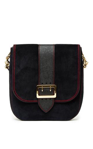 Medium burberry navy satchel bag in navy calf suede