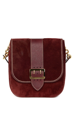 Medium burberry burgundy suede satchel bag