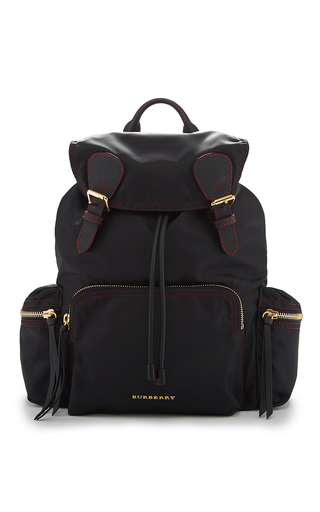 Medium burberry black rucksack in black and parade red technical nylon and leather
