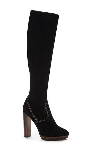 Medium burberry black relaxed knee high platform boots