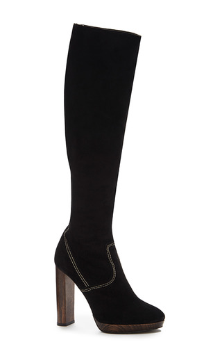 Medium burberry black relaxed knee high platform boots