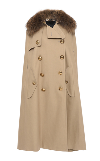 Medium burberry khaki trench cape with raccoon collar