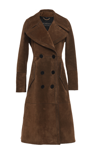 Medium burberry brown suede revere collar coat