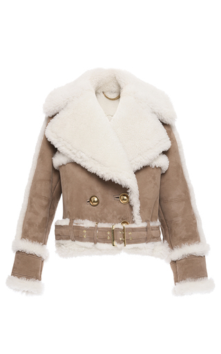 Medium burberry tan oversized shearling biker jacket