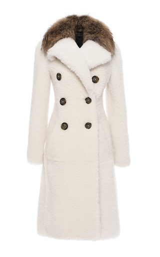 Medium burberry white reverse shearling double breasted coat
