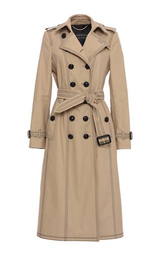 Medium burberry tan luggage stitch slim fit trench coat