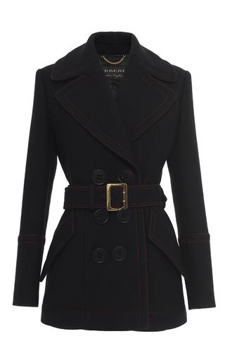 Medium burberry black belted luggage stitch coat