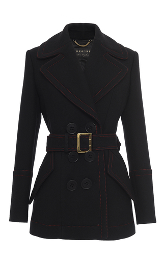 Medium burberry black belted luggage stitch coat