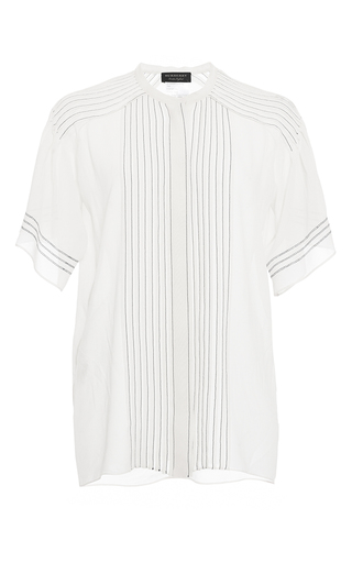 Medium burberry white regimental pleat cape sleeve blouse