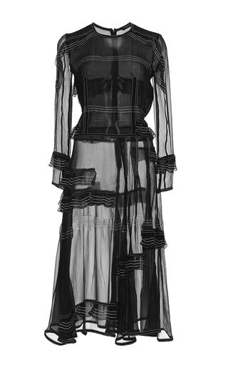 Medium burberry black luggage stitched silk ruffle dress