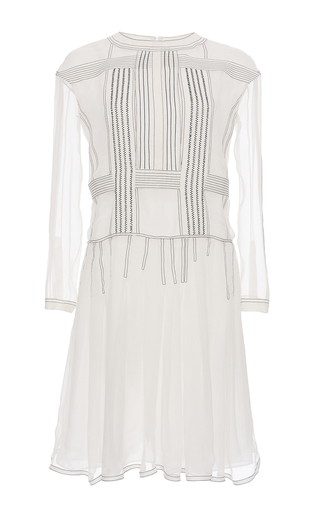 Medium burberry white silk crepon drop waist dress
