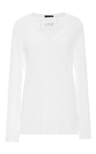 Medium atm white long sleeved slub tee  2