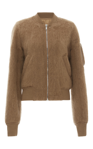 Medium rick owens brown brushed mohair bomber jacket