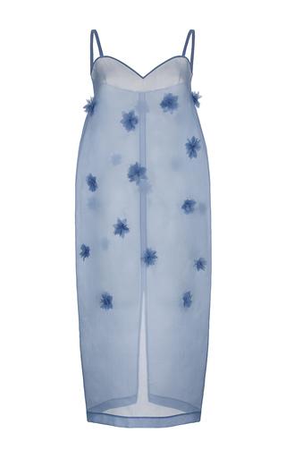 Medium ruban blue floral embellished organza slip dress