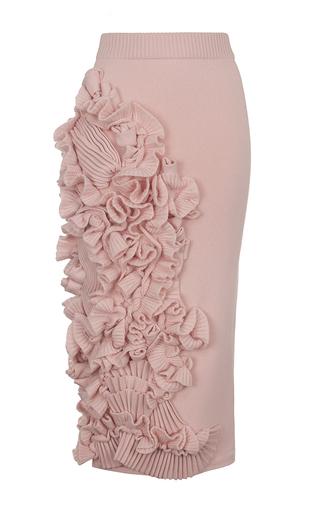 Medium ruban pink decorated cashmere pencil skirt