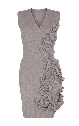 Medium ruban dark grey long decorated cashmere sweater