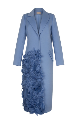 Medium ruban blue decorated cashmere coat