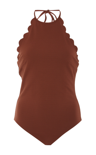 Medium marysia swim brown mott scalloped one piece swimsuit
