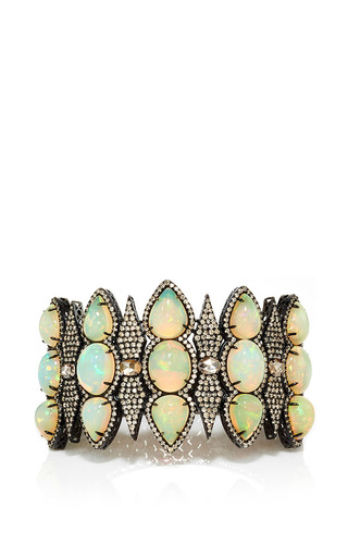 Medium sutra light blue opal and diamond bracelet