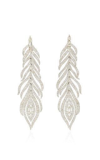 Medium sutra white white diamond feather earrings